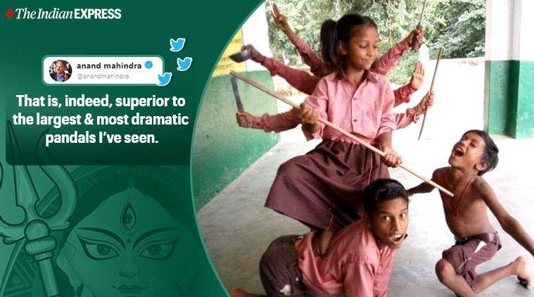 Anand Mahindra, Anand Mahindra Twitter, Durga Puja, Picture of durga by children in uniform,Trending, Indian Express news