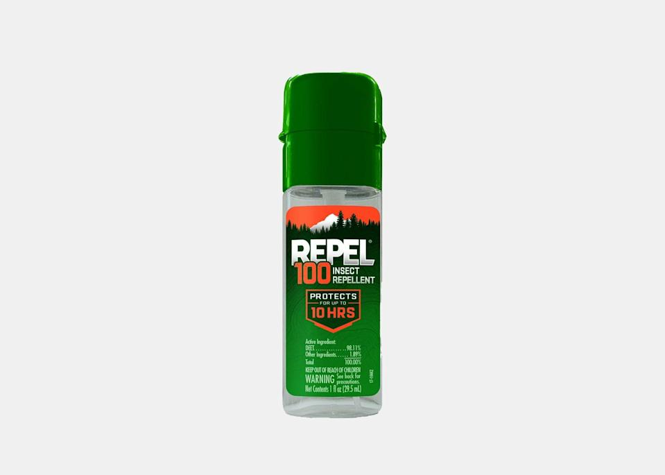 """A bug spray is only useful when you actually use it—and that means finding travel-size options for certain trips. This TSA-friendly pump spray is DEET-based and can easily fit in your carry-on or backpack to bring on all your adventures. Although it's small, the bottle packs a mean punch with 98.11 percent DEET. The heavy duty repellent protects against mosquitoes, gnats, ticks, biting flies, fleas, and chiggers for up to 10 hours. $7, REI. <a href=""""https://www.rei.com/product/783938/repel-100-insect-repellent"""" rel=""""nofollow noopener"""" target=""""_blank"""" data-ylk=""""slk:Get it now!"""" class=""""link rapid-noclick-resp"""">Get it now!</a>"""