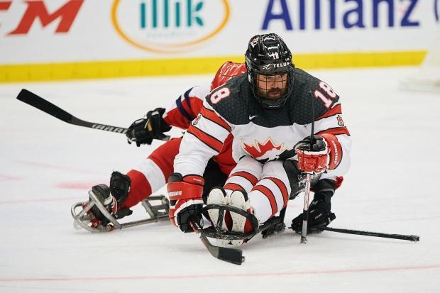 Canada's Billy Bridges is seen above during the team's 2-1 semifinal win over the Russian Paralympic Committee at the para-hockey worlds on Friday. Canada will take on the United States in the gold-medal game on Saturday. (Hockey Canada/Twitter - image credit)