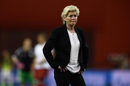 MONTREAL, QC - JUNE 30:  Head coach Silvia Neid of Germany reacts prior to the FIFA Women's World Cup 2015 Semi-Final Match at Olympic Stadium on June 30, 2015 in Montreal, Canada.  (Photo by Dennis Grombkowski/Bongarts/Getty Images)