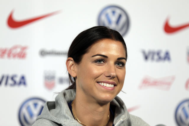 "<a class=""link rapid-noclick-resp"" href=""/ncaaf/players/292082/"" data-ylk=""slk:Alex Morgan"">Alex Morgan</a>'s path back to the pitch after starting a family is more comfortable than it once was for USWNT players. (AP)"