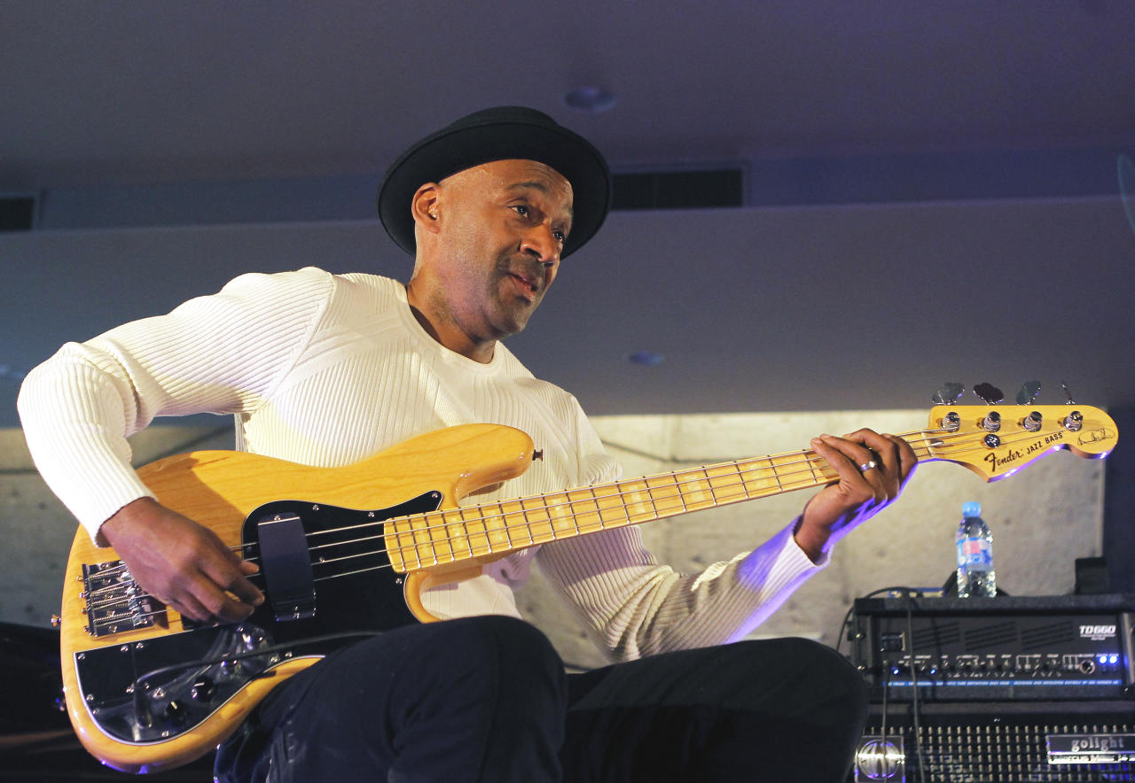 U.S jazz musician Marcus Miller performs during the international Jazz Day at the UNESCO headquarters in Paris, Friday, April 27, 2012. (AP Photo/Jacques Brinon)