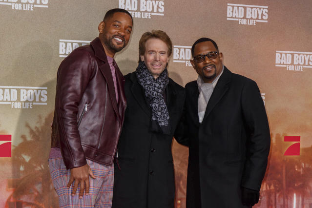 """Photo by: KGC-324-RC/STAR MAX/IPx 2020 1/7/20 Will Smith, Jerry Bruckheimer and Martin Lawrence at the premiere of """"Bad Boys"""" in London, England."""
