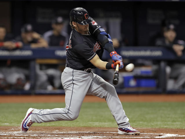 Cleveland Indians' Josh Donaldson flies out against Tampa Bay Rays pitcher Tyler Glasnow in his Indians' debut during the first inning of a baseball game Tuesday, Sept. 11, 2018, in St. Petersburg, Fla. (AP Photo/Chris O'Meara)