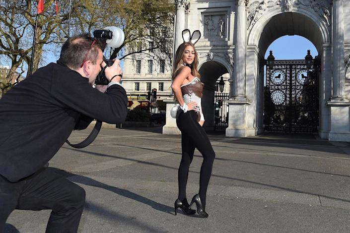<p>Playboy Bunny Penny Delbaugh wears an edible chocolate corset and bunny ears, the world's first Chocolate Easter Playboy Bunny, on April 6, 2017 in London, England. (Photo: Stuart C. Wilson/Getty Images) </p>