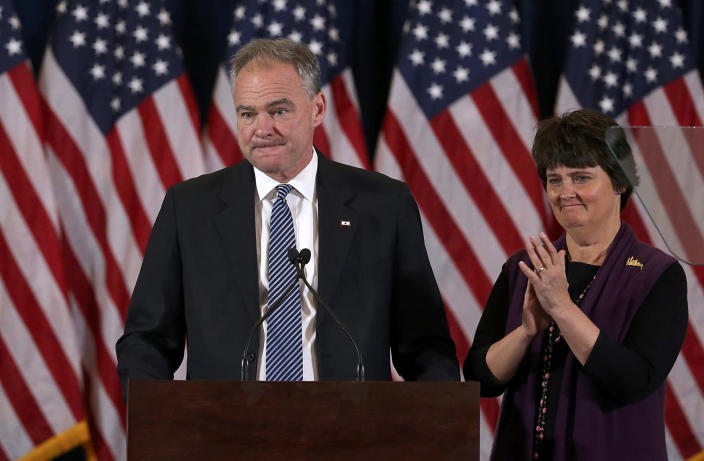 <p>Democratic Vice President nominee Tim Kaine and his wife Anne Holton appear before Hillary Clinton's concession speech in New York,U.S., November 9, 2016. (REUTERS/Carlos Barria) </p>