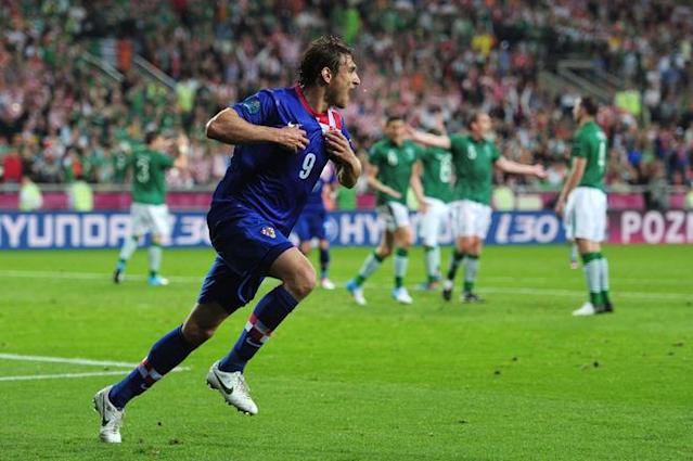 POZNAN, POLAND - JUNE 10: Nikica Jelavic of Croatia celebrates scoring their second goal during the UEFA EURO 2012 group C between Ireland and Croatia at The Municipal Stadium on June 10, 2012 in Poznan, Poland. (Photo by Jamie McDonald/Getty Images)