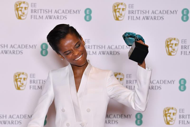 Letitia Wright poses with the Rising Star Award at the BAFTAs on February 10, 2019. (Photo: Ben Stansall/AFP via Getty Images)