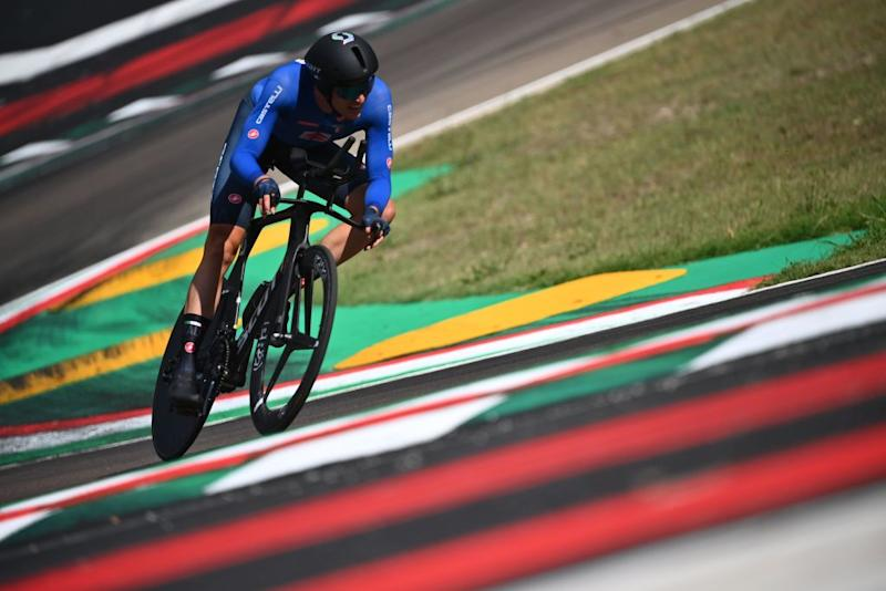 Italys Edoardo Affini competes in the Mens Elite Individual Time Trial at the UCI 2020 Road World Championships in Imola EmiliaRomagna Italy on September 25 2020 Photo by Marco BERTORELLO AFP Photo by MARCO BERTORELLOAFP via Getty Images