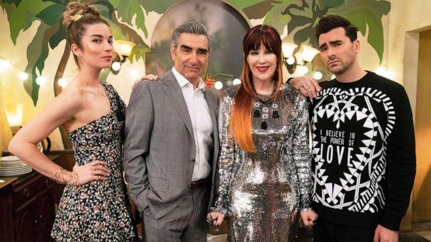 PHOTO: This image released by Pop TV shows, from left, Annie Murphy, Eugene Levy, Catherine O'Hara and Dan Levy from the series 'Schitt's Creek.' The program is nominated for an Emmy Award for outstanding comedy series. (Pop TV via AP)