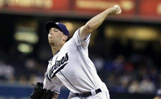 San Diego Padres starting pitcher Robbie Erlin works against the Los Angeles Dodgers in the first inning of a baseball Friday, Sept. 20, 2013, in San Diego. (AP Photo/Lenny Ignelzi)