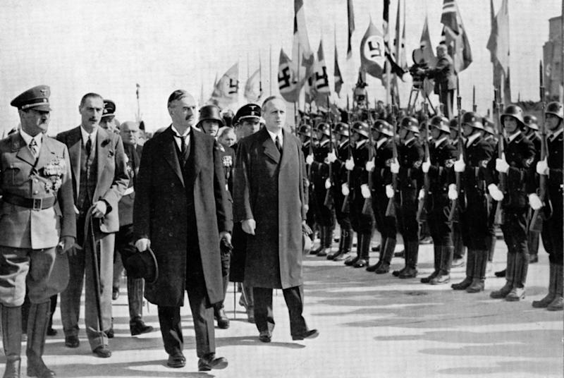 "Chamberlain, ""Ribbentrop and Hitler at Munich, Germany, 1938"