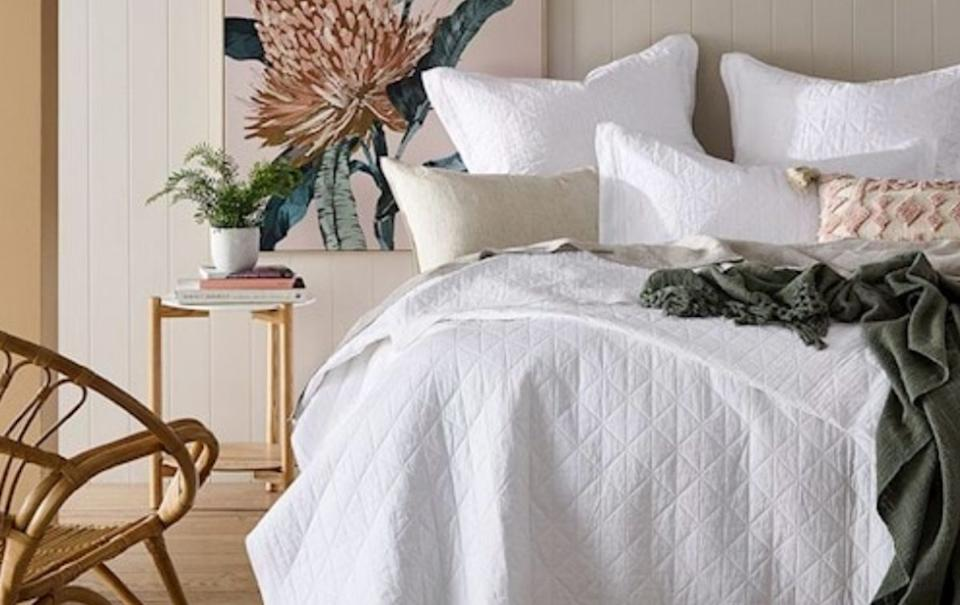 Home Republic Vintage Washed Linen White Coverlet. Picture: Adairs