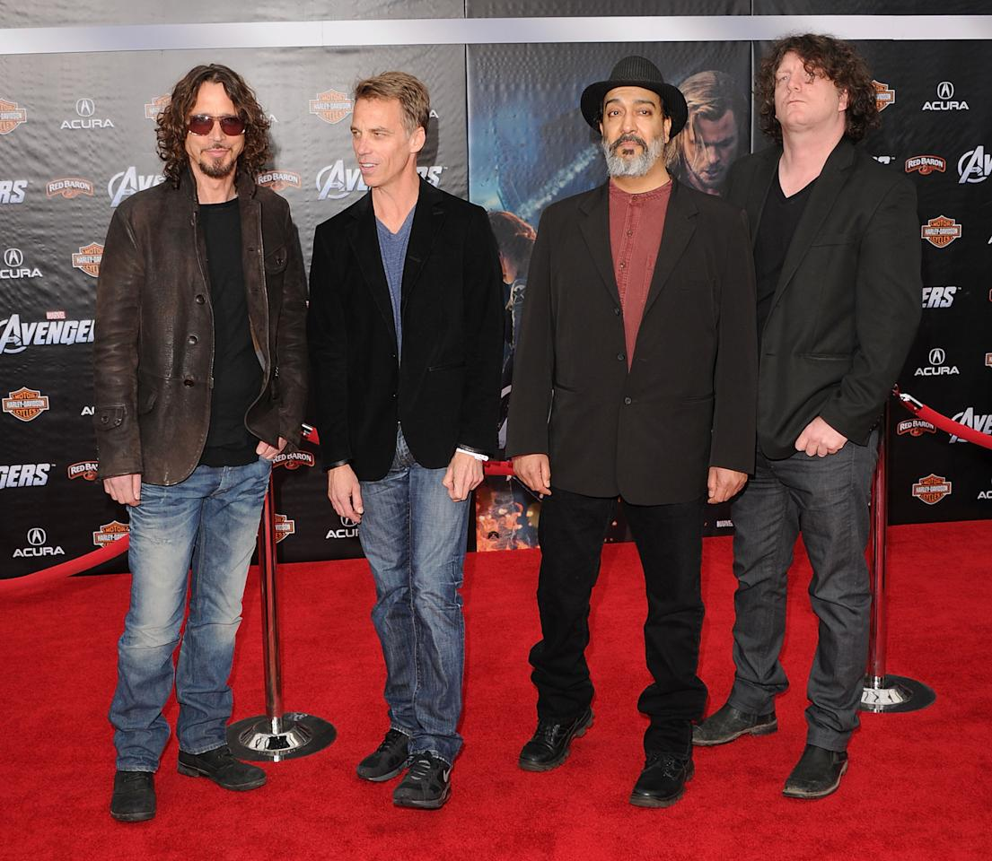 HOLLYWOOD, CA - APRIL 11:  Musician Chris Cornell and the band Sound Garden arrive at the premiere of Marvel Studios' 'The Avengers' at the El Capitan Theatre on April 11, 2012 in Hollywood, California.  (Photo by Jason Merritt/Getty Images)