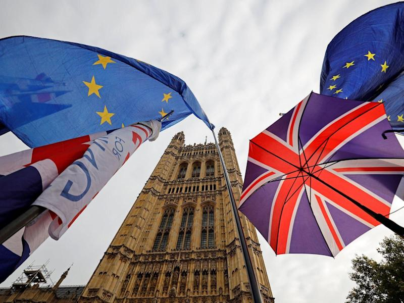 EU and Union Jack flags fly outside the Houses of Parliament in October: AFP