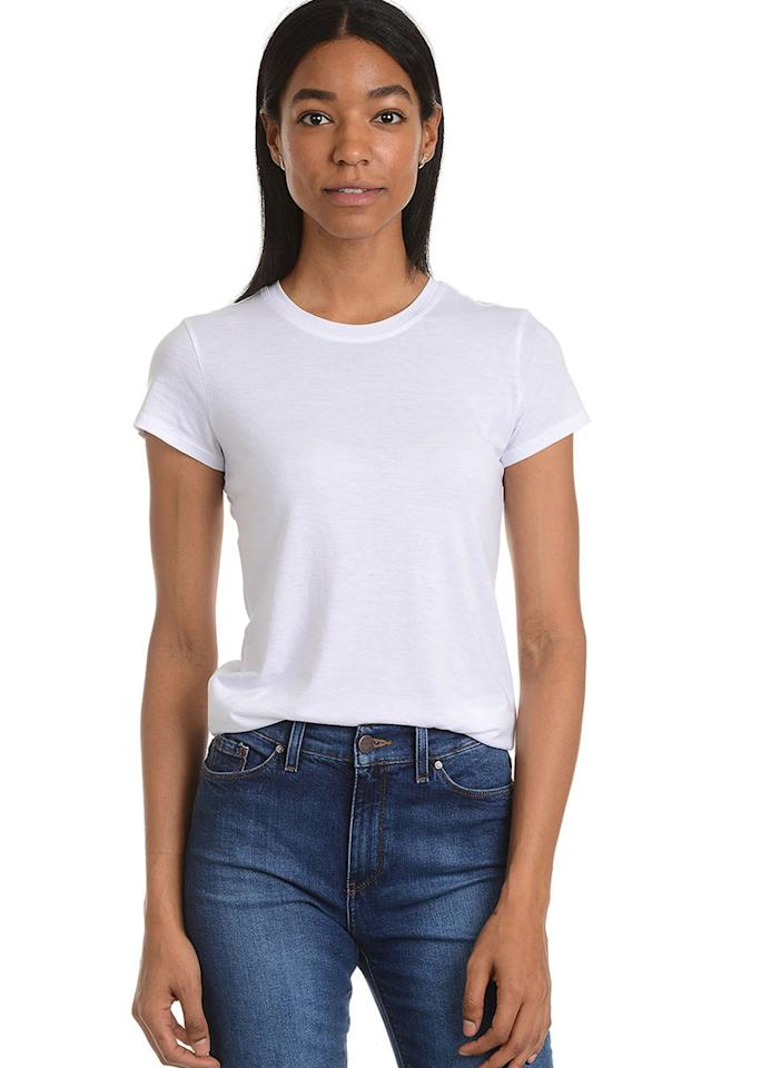 """$30, Mott & Bow. <a rel=""""nofollow"""" href=""""https://www.mottandbow.com/women/tops/tees/fitted-crew-tee-marcy-white.html"""">Get it now!</a>"""