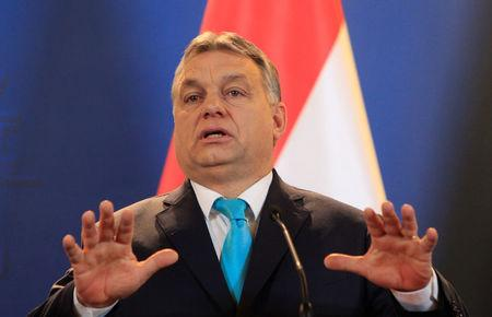 Hungarian PM Orban attends a joint news conference with Polish PM Morawiecki in Budapest