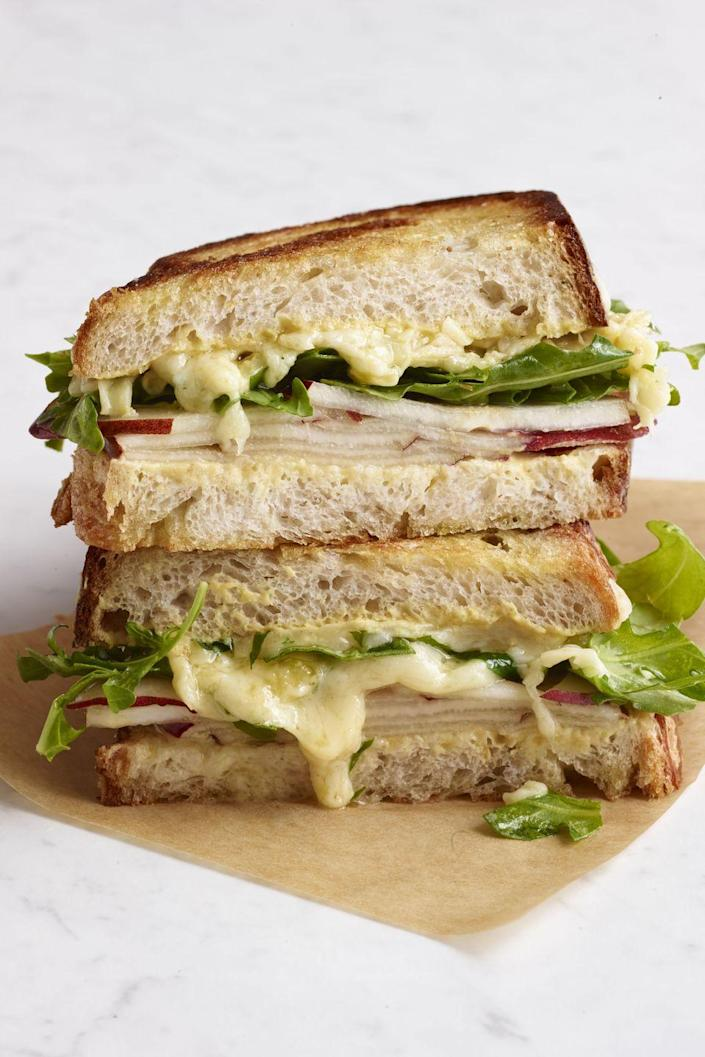 """<p>Tart and fresh, this pear and gouda grilled cheese would be perfect for spring or summer picnics.</p><p><a href=""""https://www.womansday.com/food-recipes/food-drinks/recipes/a12295/pear-gouda-grilled-cheese-recipe-wdy1013/"""" rel=""""nofollow noopener"""" target=""""_blank"""" data-ylk=""""slk:Get the recipe for Pear and Gouda Grilled Cheese."""" class=""""link rapid-noclick-resp""""><em><strong>Get the recipe for Pear and Gouda Grilled Cheese.</strong></em></a></p>"""