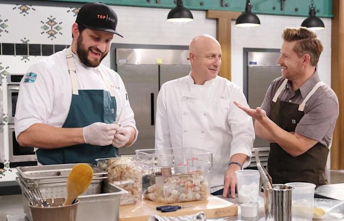 Gabe Erales, Tom Colicchio and Richard Blais on Season 18 of Top Chef (David Moir / NBCU Photo Bank / Getty Images)