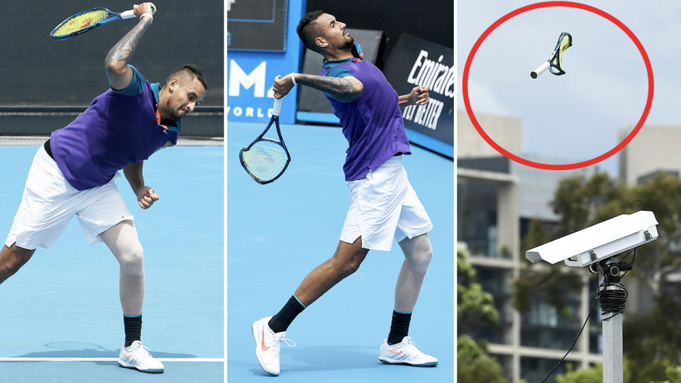 Nick Kyrgios, pictured here smashing his racquet before throwing it into the stands.