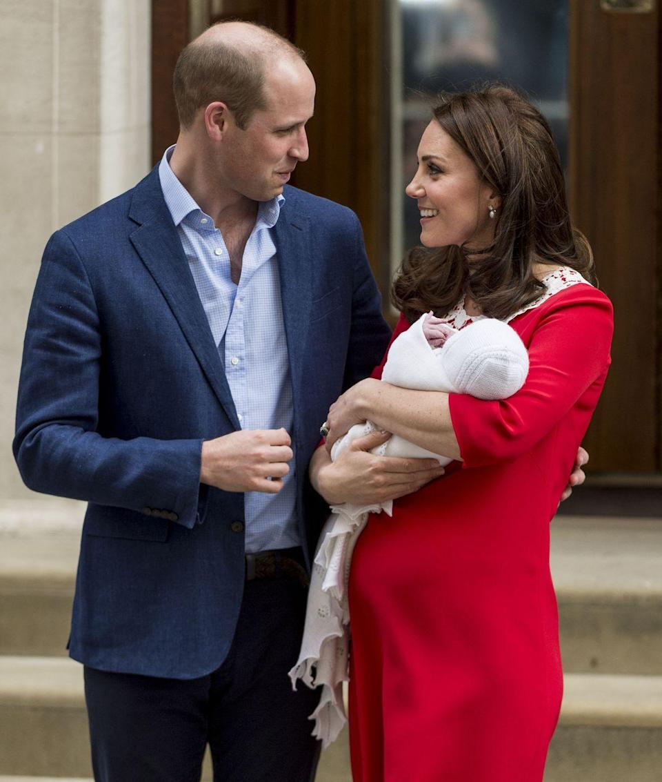 <p>The couple looked lovingly into each other's eyes as they welcomed their third child, Prince Louis, to the world outside the Lindo Wing, St Mary's Hospital, April 2018. </p>