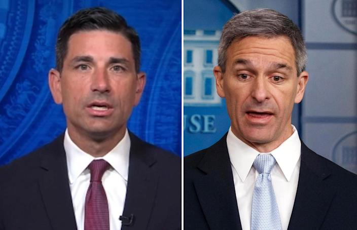 Chad Wolf, acting secretary of the Department of Homeland Security (left); and Ken Cuccinelli, acting head of U.S. Citizenship and Immigration Services (right). / Credit: CBS News/AP Photo