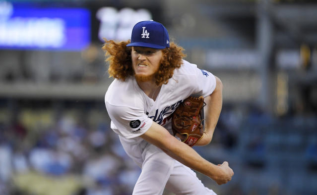 Los Angeles Dodgers starting pitcher Dustin May throws during the second inning of the team's baseball game against the San Diego Padres on Friday, Aug. 2, 2019, in Los Angeles. (AP Photo/Mark J. Terrill)