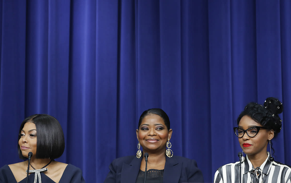 <p>The actress adorned her hair with a bevy of small metal clips for the White House screening of <i>Hidden Figures.</i> ( Photo: AP) </p>