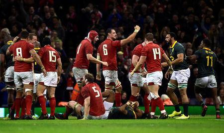 Rugby Union - Autumn Internationals - Wales vs South Africa - Principality Stadium, Cardiff, Britain - December 2, 2017 Wales players celebrate at the end of the match REUTERS/Rebecca Naden