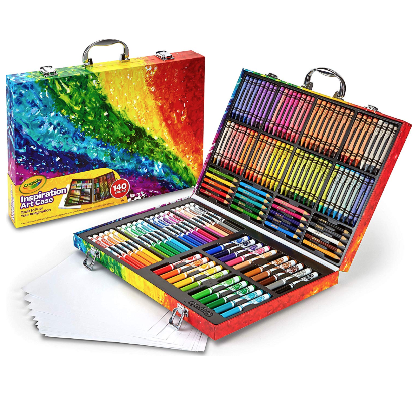 """<p><strong>Crayola</strong></p><p>amazon.com</p><p><strong>$23.18</strong></p><p><a href=""""https://www.amazon.com/dp/B00CI6J5JQ?tag=syn-yahoo-20&ascsubtag=%5Bartid%7C10055.g.29389667%5Bsrc%7Cyahoo-us"""" rel=""""nofollow noopener"""" target=""""_blank"""" data-ylk=""""slk:Shop Now"""" class=""""link rapid-noclick-resp"""">Shop Now</a></p><p>For the budding artist, this art case <strong>keeps every coloring utensil and paper neatly organized</strong> so she can create her best work wherever she goes. It comes with 64 crayons, 40 washable markers, 20 colored pencils, and 15 large paper sheets. <em>Ages 5+</em></p>"""