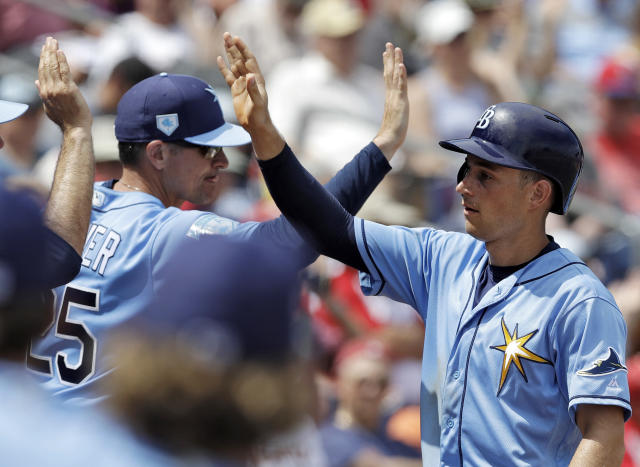 FILE - In this Monday, March 11, 2019, file photo, Tampa Bay Rays' Brandon Lowe, right, high-fives teammates after scoring on a two-run single by Willy Adames during the second inning of a spring training baseball game against the Philadelphia Phillies in Clearwater, Fla. Lowe, who made his big league debut last August, has agreed to a $24 million, six-year contract with the Rays. (AP Photo/Chris O'Meara, File