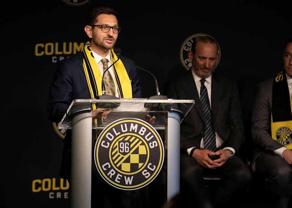 COLUMBUS, OH - JANUARY 09: Crew SC President Tim Bezbatchenko during the Introductory Press Conference held at the The Ivory Room in Columbus, Ohio on January 9, 2019. (Photo by Jason Mowry/Icon Sportswire via Getty Images)