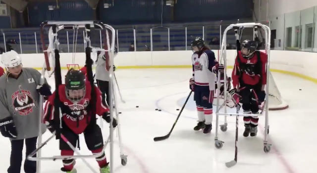 Assistive devices have been banned from hockey competitions in Ontario. (Twitter // HoopPhysLit)