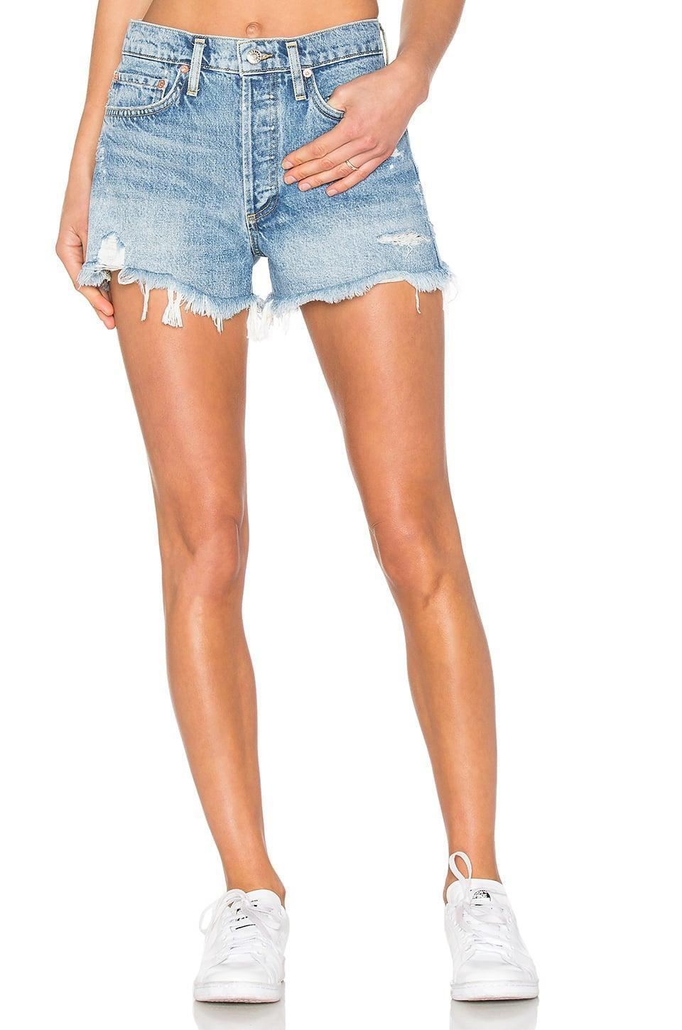 <p>You'll fall in love with these flattering <span>AGOLDE Parker Vintage Cut Off Shorts</span> ($128).</p>