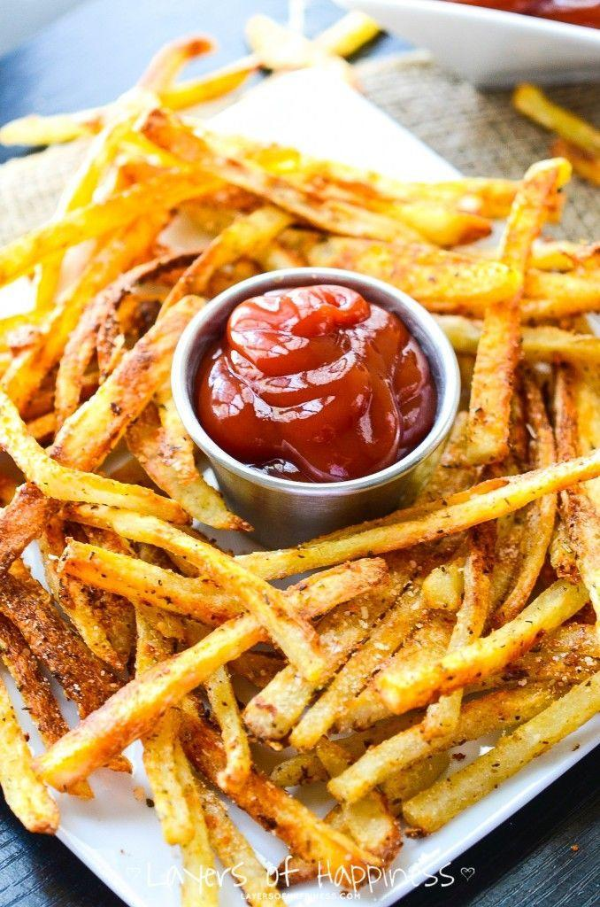 """<p>These are fries no one will feel guilty about eating. </p><p><strong>Get the recipe at <a href=""""http://www.layersofhappiness.com/extra-crispy-oven-baked-french-fries/"""" rel=""""nofollow noopener"""" target=""""_blank"""" data-ylk=""""slk:Layers of Happiness"""" class=""""link rapid-noclick-resp"""">Layers of Happiness</a>.</strong></p>"""