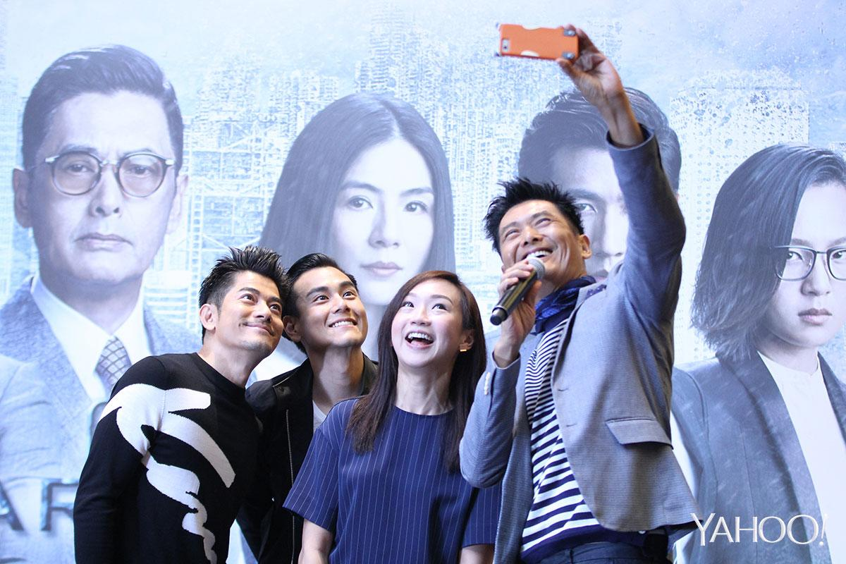 L-R: Aaron Kwok, Eddie Peng, 933FM DJ Lim Peifen and Chow Yun Fat taking a selfie together