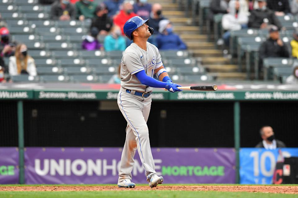CLEVELAND, OHIO - APRIL 05: Whit Merrifield #15 of the Kansas City Royals watches a sacrifice fly during the seventh inning of the home opener against the Cleveland Indians at Progressive Field on April 05, 2021 in Cleveland, Ohio. (Photo by Jason Miller/Getty Images)