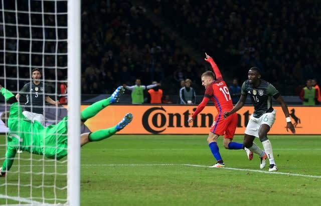 Vardy scored his first England goal against Germany in Berlin. (Adam Davy/PA)