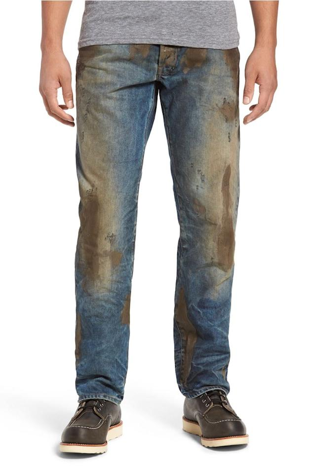 <p>Any man (or woman) wanting to look like they've been doing some good old manual labour can simply wear these heavily stained jeans in place of doing any actual work. Neat, huh?<br /><i>[Photo: Nordstrom]</i> </p>