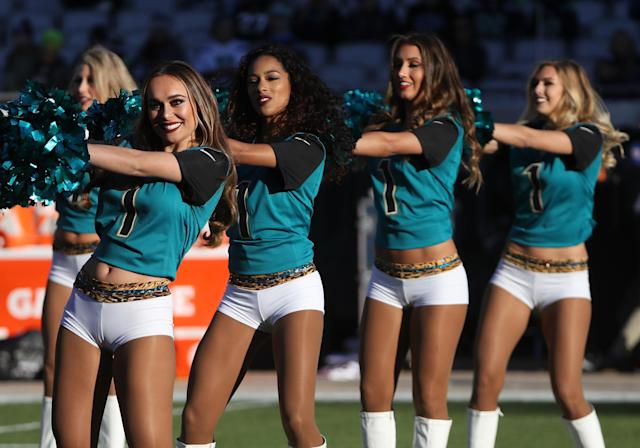 <p>Jacksonville Jaguars cheerleaders perform on the field prior to the start of their game against the Seattle Seahawks at EverBank Field on December 10, 2017 in Jacksonville, Florida. (Photo by Sam Greenwood/Getty Images) </p>