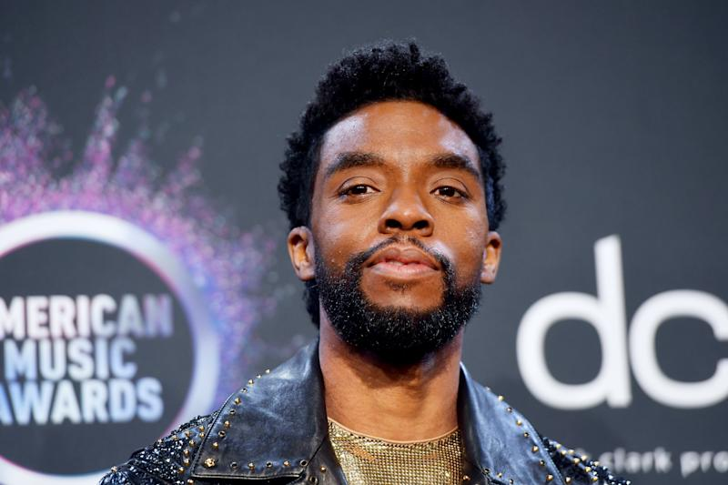 LOS ANGELES, CALIFORNIA - NOVEMBER 24: Chadwick Boseman poses in the press room during the 2019 American Music Awards at Microsoft Theater on November 24, 2019 in Los Angeles, California. (Photo by Matt Winkelmeyer/Getty Images for dcp)
