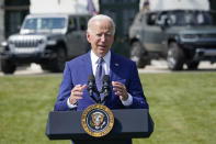 President Joe Biden speaks on the South Lawn of the White House in Washington, Thursday, Aug. 5, 2021, during an event on clean cars and trucks. (AP Photo/Susan Walsh)