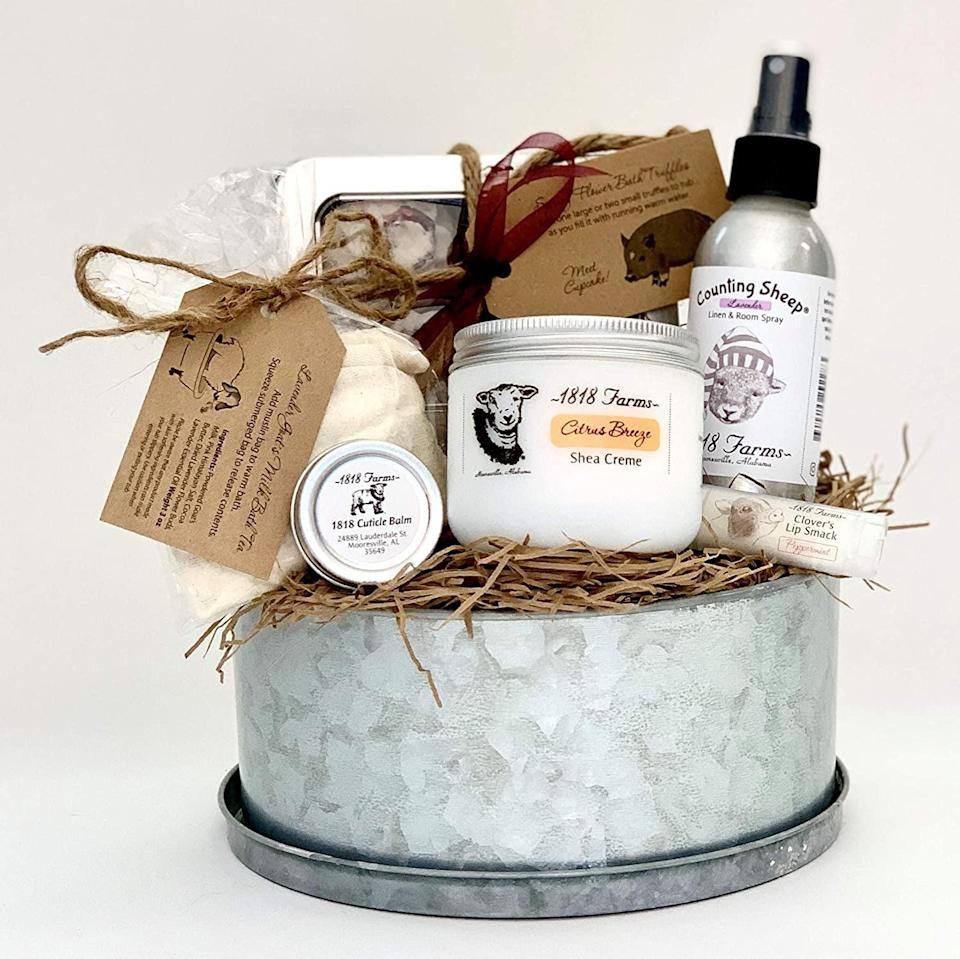 <p>If you want to get some pampering products for yourself, invest in this <span>818 Farms Gift Basket</span> ($68). It has shea cream, bath tea, cuticle balm, linen spray, a bath truffle, and lip balm.</p>