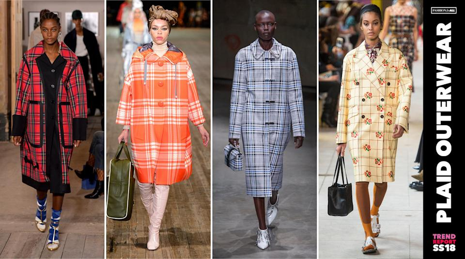 <p>Bright, colorful plaid isn't just reserved for tops and pants anymore. This print was spotted all over the catwalks on coats— making it a big outerwear trend for spring. (Photo: ImaxTree) </p>