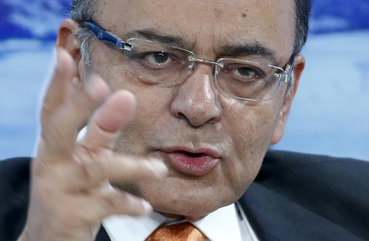 India's Finance Minister Jaitley gestures during the session 'India's Next Decade' in the Swiss mountain resort of Davos