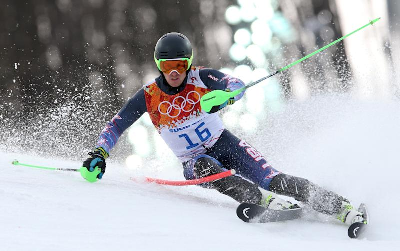 United States' Ted Ligety skis during the first run of the men's slalom at the Sochi 2014 Winter Olympics, Saturday, Feb. 22, 2014, in Krasnaya Polyana, Russia.(AP Photo/Luca Bruno)