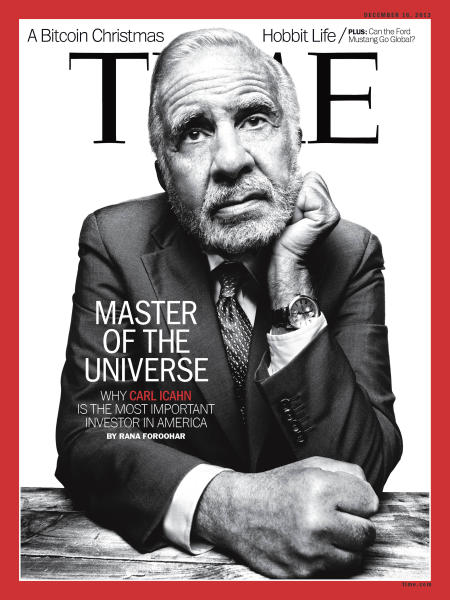 This image provided by Time magazine shows activist investor Carl Icahn on the cover of the Dec. 16, 2013 issue of the magazine. Icahn discloses in the issue of Time that he is seeking the support of Apple shareholders as he tries to pressure the iPhone maker into spending more of its cash to buy back the company's stock. (AP Photo/Time)