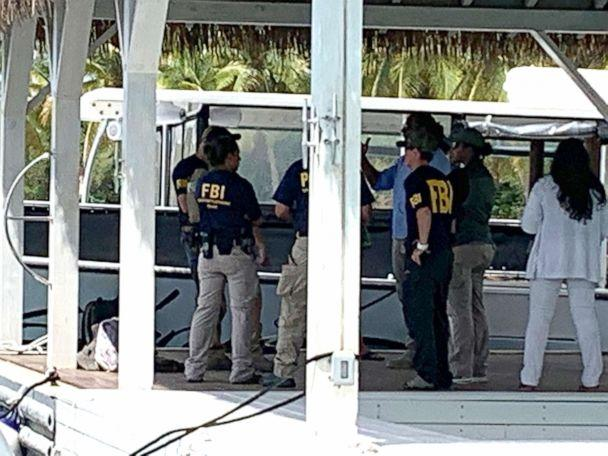 PHOTO: Federal agents, including FBI and CBP, at the dock and on the grounds of Little Saint James, Jeffrey Epstein's island home in the US Virgin Islands, Aug. 12, 2019. (Todd Hecht Film VI)