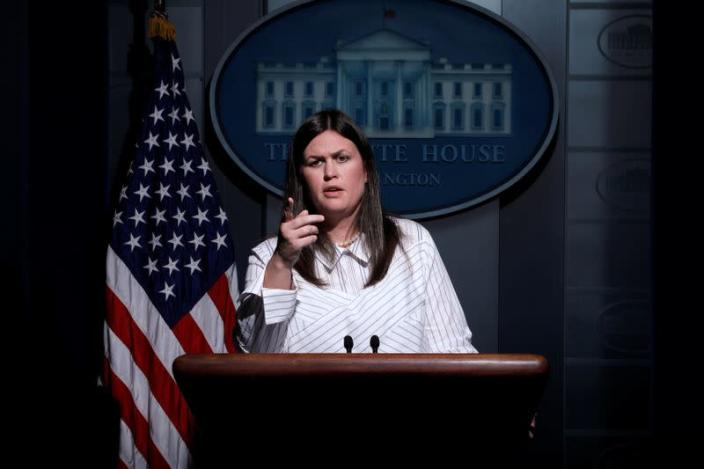 Deputy White House Press Secretary Sarah Huckabee Sanders holds the daily briefing at the White House in Washington
