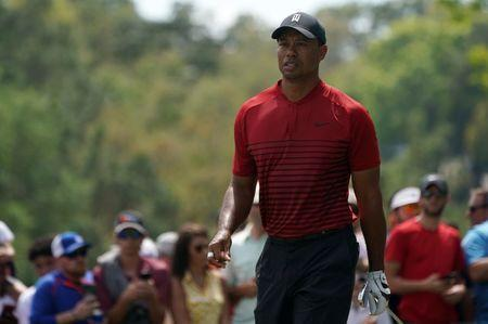 Mar 11, 2018; Palm Harbor, FL, USA; Tiger Woods walks off the 2nd tee during the final round of the Valspar Championship golf tournament at Innisbrook Resort - Copperhead Course. Jasen Vinlove-USA TODAY Sports